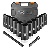 TACKLIFE 15pcs 3/8-Inch Drive Deep Impact Socket Set, SAE, 1/4 - 1 inch, CR-V Steel, 6-Point, with 3' and 6' Extension Bars and Heavy Duty Storage Case- HIS5A