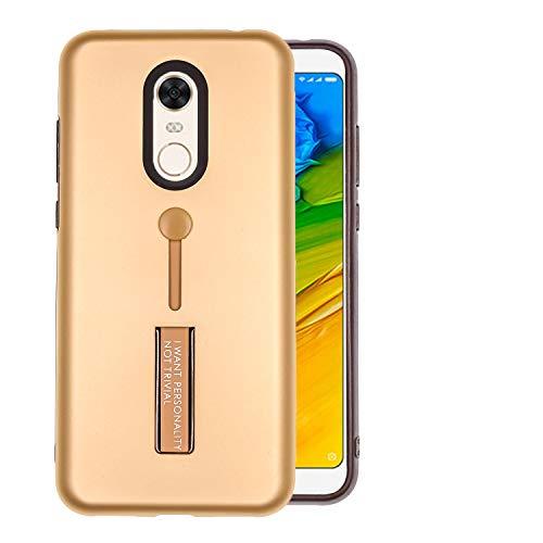COOVY® Funda para Xiaomi Redmi 5 Plus Doble Capa de silicio TPU y plástico, extrafuerte, una función de sujeción con u n Dedo de la Correa | Oro