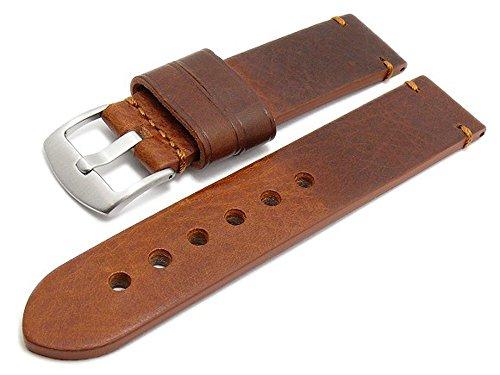 Meyhofer Uhrenarmband Ludwigsburg 22mm Hellbraun/rotbraun Leder glatt robust abgenäht MyHeklb131-22-rbrau-TiT