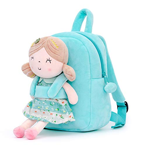 Gloveleya Kids Backpacks for Girls backpack Plush bags with Stuffed doll for Toddler baby Green 9 Inches