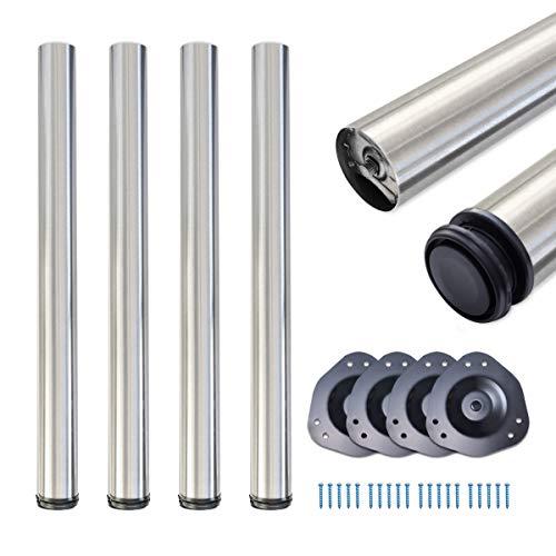 sossai® Standard Tischbeine STBGS | höhenverstellbar | Design: gebürsteter Edelstahl | 4 Stück | Höhe: 110 cm (1100 mm) einstellbar +2cm | Montagezubehör inklusive