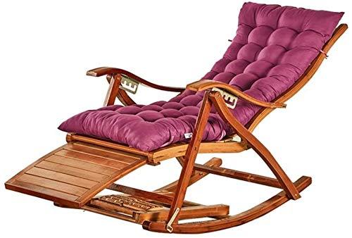 Deezu Tumbonas Jardin reclinable Nap Mecedora, Cuna Plegable Antigua casa de bambú portátil...