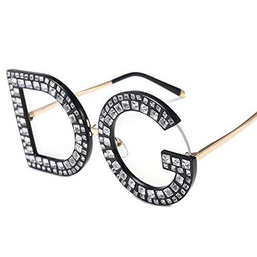 WQZYY&ASDCD Gafas de Sol Trend Letter Gafas De Sol Mujer Gafas De Sol De Gran Tamaño Mujer Gafas con Montura Flash Shades-C5