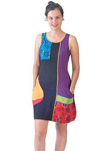Vestido sin Mangas de Las señoras con el Remiendo Colorido y diseño del Bordado