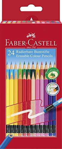Faber-Castell 116625 - Matite colorate cancellabili, astuccio in cartone da 24 pezzi