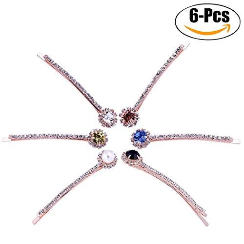 6 Stks Set Strass Sun Fower Haarspelden, Glanzende Kristal Haar Clip Haarspeld Ornament Hoofdtooi Voor Vrouwen Meisjes