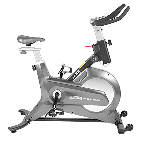 JLL IC200 PRO Indoor Cycling Exercise Bike, Direct Belt Driven, Advanced Flywheel, Magnetic Resistance, 3-Piece Crank, 6-Function Monitor, Heart Rate Sensors, Adjustable Seat, 12 Months Home Warranty