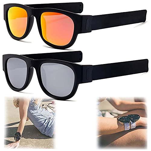 WBias&Belief 2 Paquetes Brazalete Plegable Gafas De Sol,Gafas De Sol Polarizadas Aqua Silver,Gafas de Sol Deportivas para Montar,Gafas Oscuras De Muñeca,Gafas De Sol para Hombres Y Mujeres,A