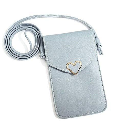 Mini Multifunktions Kleine Umhängetasche Handy Geldbörse Brieftasche Kartenhalter Tasche, mit verstellbarem Schultergurt, klares Telefonfenster, für Frauenreisen (Blau)