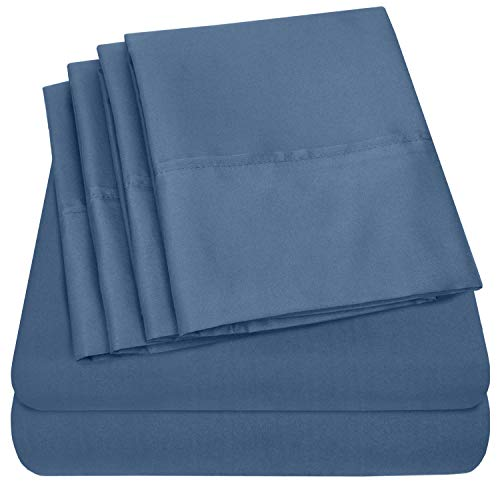 Sweet Home Collection Queen Sheets-6 Piece 1500 Thread Count Fine Brushed Microfiber Deep Pocket Set-EXTRA PILLOW CASES, VALUE, Denim