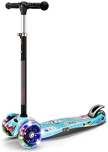 LiPengTaoShop Kickroller Kinder Roller Faltbare Vier-Rad Flash Roller geeignet für Kinder im Alter von 2-14 mit Multi-Farbe optional (Farbe   Blau)