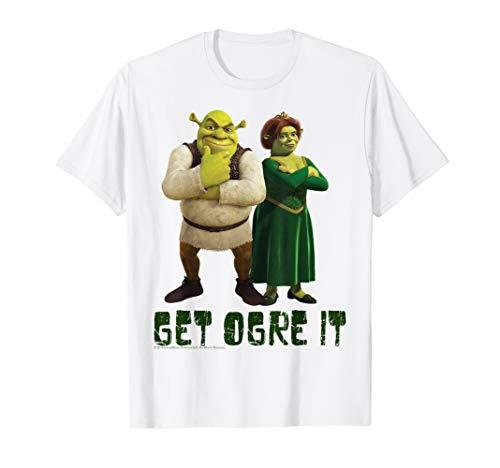 Shrek Fiona & Shrek Get Ogre It Text Poster T-Shirt