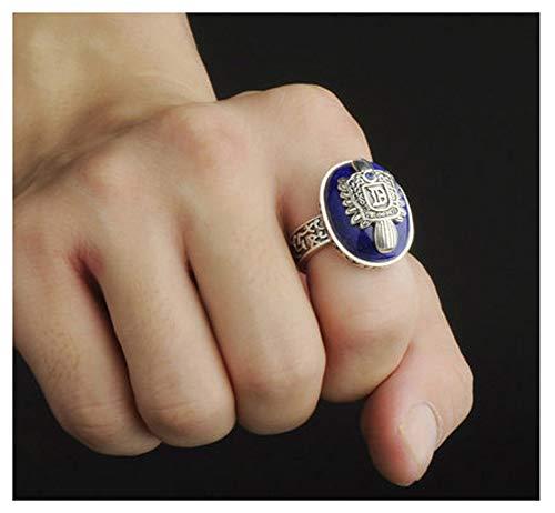 RXSHOUSH Anillo de hombre, plata S925 lapislázuli azul corindón hombres y mujeres anillo de compromiso regalo novio tendencia anillo 17#