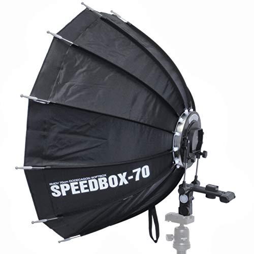 Impulsfoto SMDV Speedbox-70, Mobile Zwölfeckige-Softbox 70cm, Weiche Ausleuchtung, Für entfesselte Aufsteckblitze mit Standard ISO/Sony Multi Interface Blitzschuh
