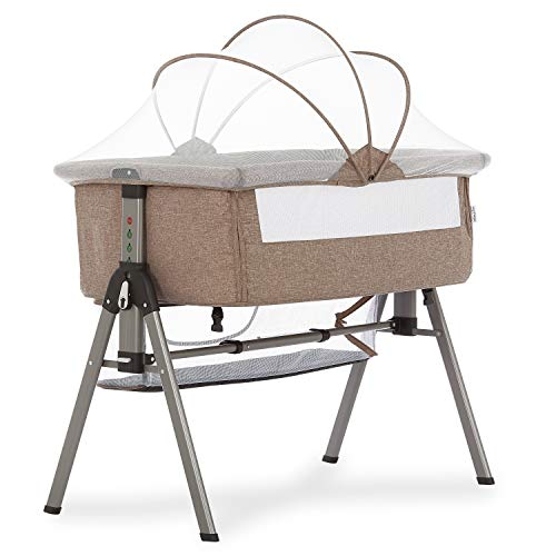 Dream On Me Lotus Bassinet & Bedside Sleeper in Brown, 1.65 lb