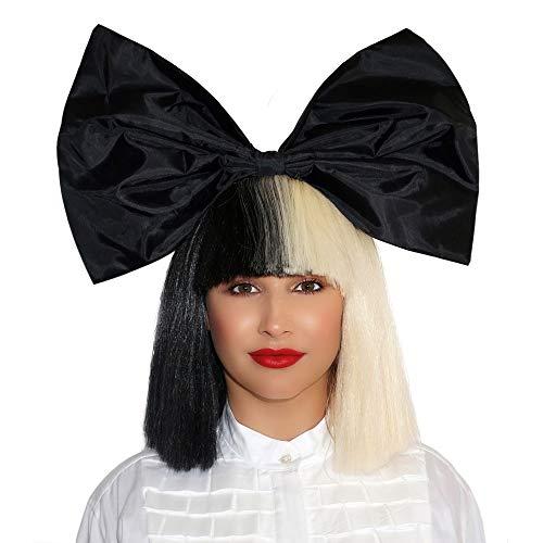 OFFICIALLY LICENSED Sia Kostüm Perücke 2 Ton Halb Blonde Black Bob Perücke mit Synthetisches Haar Premium Qualität und mit Schwarzem Bogen SIA Cosplay Perücken