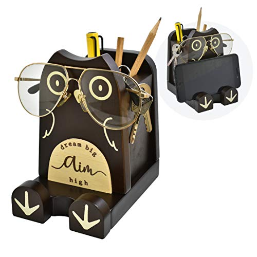 "I'm Wood Multipurpose Eyeglass Phone Pen & Pencil Holder Stand Stationery Desk Box Organizer Accessories Decor, Home Office Desktop Decoration Birthday Graduation Gifts ""Dream Big Aim High"" (Owl)"