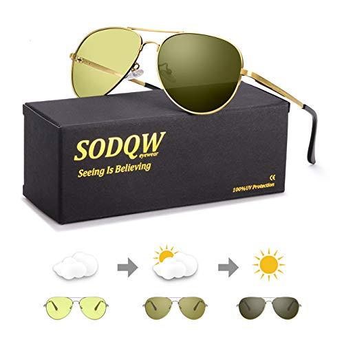Polarisierte Nachtsichtbrille Sonnenbrille Photochromatisch Herren Sports Nacht Vision Blendschutz Brille für 100% UVA UVB Schutz Metallrahmen Leicht (Gold/Gelb Photochromatisch)