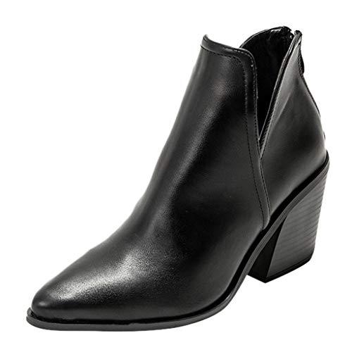 Luckycat Botines Mujer Tacon Cuero PU Tobillo Botas Piel Ankle Boots 8...