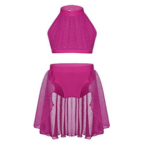 IEFIEL Vestido de Danza Ni/ña Maillot Ballet con Tut/ú Gimnasia Leotardo con Falda Encaje Mangas Cotras Puff Conjunto Disfraz Bailarina