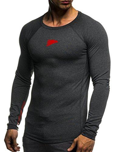 Leif Nelson Gym Herren Fitness Shirt Rundhals-Ausschnitt Slim Fit Langarm Männer Trainingsshirt Top Rundkragen Sport Sweatshirt - Hoodie für Bodybuilding Training 6283 Anthrazit-Rot XX-Large
