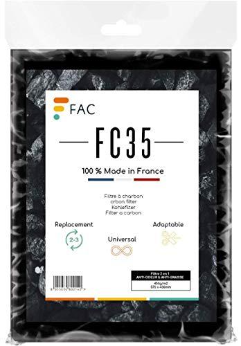 Fac FC35 - Filtre à charbon Universel pour toutes les hottes de cuisine | 2 couches | Efficacité garantie | mousse à découper Selon Besoin | Taille 47 * 57 cm. | Fabrication 100% Française