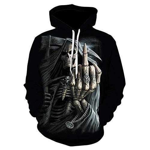 Sudadera con capucha con marco de cráneo de dedo, vertical,