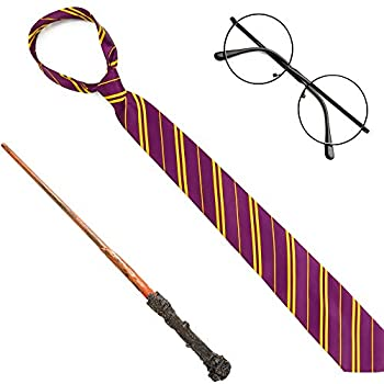 Skeleteen Wizard Costume Accessories Set - Nerd Circle Glasses Red and Gold Tie and a Magic Wand Accessory Set for Kids and Adults