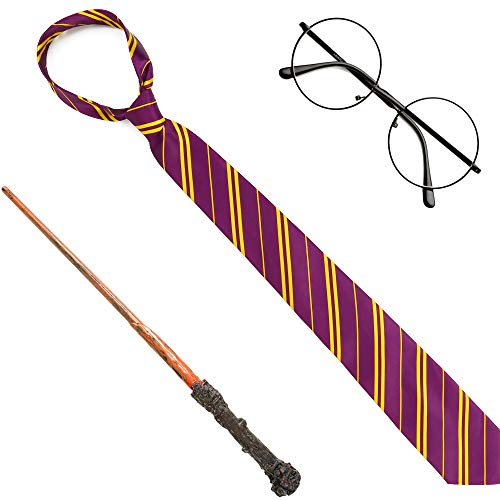 Amazon.com: Skeleteen Wizard Costume Accessories Set - Nerd Circle Glasses, Red and Gold Tie and a Magic Wand Accessory Set for Kids and Adults: Clothing