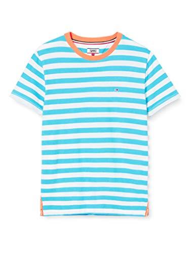 Tommy Hilfiger Tjw Slit Detail tee Ropa Deportiva de Punto, Azul (Fresh Aqua/White 0zc), 32 (Talla del Fabricante: XX-Small) para Mujer