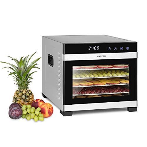 Klarstein Flavour Dry - Déshydrateur, 6 plateaux pour sécher les aliments, Température réglable de 35 à 75 °C, Répartition uniforme de la chaleur, Ecran tactile LCD, Minuterie de 30 mn - 24 h, Noir