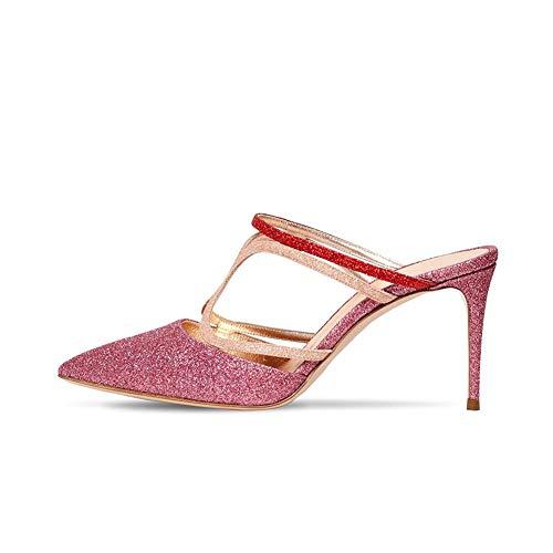 Glitter Sandalias de Tacón Stiletto para Mujer, MWOOOK-2258 Sexy Mulas Tacón Alto Zapatos Apuntado Zapatos Club Boda Fiesta Zapatos Alto 8.5~9.5 CM,Fuscia,44 EU