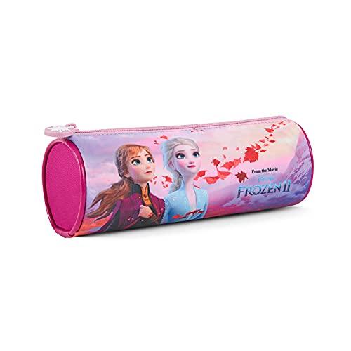 Astuccio Disney Frozen Rosa per Bambina - Portapenne Bimba Lilla con cerniera per Scuola Elementare Asilo - Pratico Portatutto Colorato per Ragazza con Anna Elsa Olaf - 8x23x7 cm - Perletti
