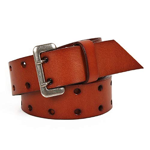 NEHARO Cinturón Punk Ajustable Punky del Estilo de la Roca del Cuero del Remache de la Cintura de Doble hilera Agujero multifunción Accesorios Cinturón Mujeres y Hombres (Size : 110cm)