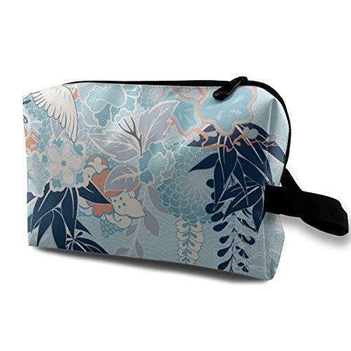 Motivo de Kimono con grúa y Flores Bolsa de Almacenamiento de cosméticos...