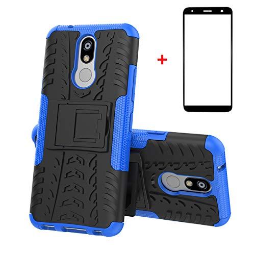 xinyunew LG K40 Hülle, Handyhülle Hülle 360 Grad Ganzkörper Schutzhülle+Panzerglas Schutzfolie Schützend Handys Schut zhülle Tasche Cover Skin mit Ständer für LG K40 Blau