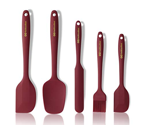 RedWoodBest Heat Resistant Silicone Spatula 5 Set Created for Cooking, Baking and Mixing, One Piece Design, Non-Stick, Strong Stainless Steel Core (Red Dahlia)