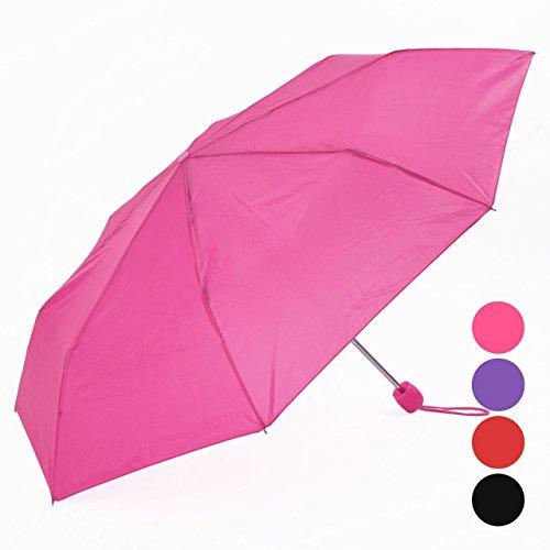 SANJO Paraguas plegable con asa de transporte y funda, color recibido variados