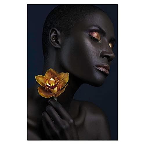 YINGFUN Africano Moderno Negro Moda Estilo Lienzo Pintura Arte impresión Cartel Imagen Pared Sala de Estar decoración casera sin Marco Dropship (Color : Y010537, Size : 20x30cm)