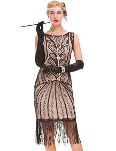 """GVOICE Vestido de borlas Vintage para Mujer de los años 20 - Vestido de Gran tamaño con Adornos de Lentejuelas de los años 20 (Beige, XL(UK 16 / EU 44) Busto 40.2"""")"""