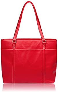 Overbrooke Classic Laptop Tote Bag, Red - Vegan Leather Womens Shoulder Bag for Laptops up to 15.6 Inches