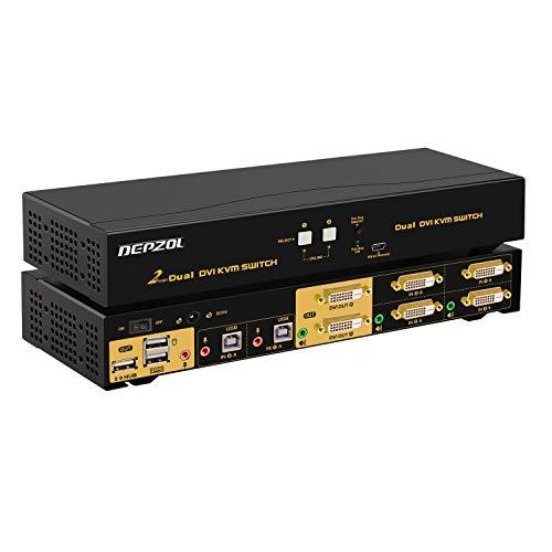 DEPZOL DVI KVM Switch Dual Monitor 2 Port 2 Computer 2 Monitore Tastatur Maus Switch mit Audio und USB 2.0 HUB Unterstützung 1920x1080 922D