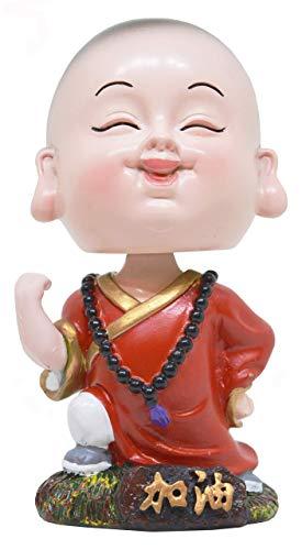 Indian Decor & Attire Shenzu Little Red Bobblehead Monk Buddha with Nodding Head Idol Figurine Showpiece