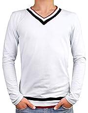 SHEYA Tシャツ メンズ 長袖 Vネック 無地 カットソー ロンT カジュアル トップス キレイめ ストレッチ 白 黒 メンズ Tシャツ