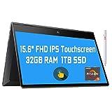 2021 Flagship HP Envy 15 x360 2 in 1 Laptop 15.6' Diagonal FHD IPS Touchscreen Display AMD 6-Core Ryzen 5 4500U 32GB RAM 1TB SSD Fingerprint Backlit Wifi6 USB-C HDMI B&O Win10 + iCarp Pen