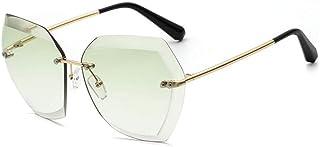 Gradiente De Color Caramelo Protección Uv Gafas De Sol De Borde Irregular Sin Marco Gafas De Sol