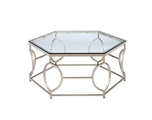 Furniture of America Marilyn Geometric Coffee Table, Chrome