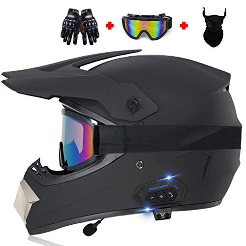 DCLINA ATV Motorcycle 4 Pcs Set Casco Todoterreno para Adultos Cascos de Motocross Bluetooth con Guantes, Gafas y Máscara Carreras Carretera Dirt Bike MX Cascos de Moto Descenso Cara Completa