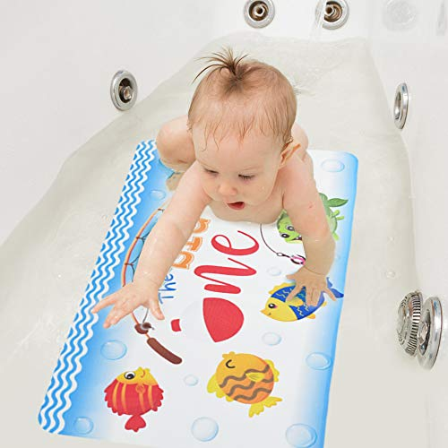 WERNNSAI Alfombra de Bañera de Pesca - 40x70cm Alfombra de Baño Antideslizante para Bebés Niños Ventosas Alfombrillas de Baño Esteras de Ducha de PVC