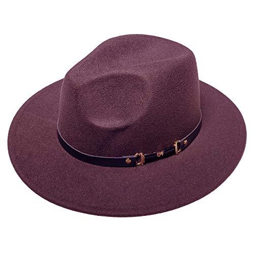 JK Home Sombrero de fieltro para hombre Trilby unisex clásico Panamá Cap 1920s Gatsby Sombreros Roaring 20s Accesorios de disfraz para hombres y mujeres con hebilla de cinturón